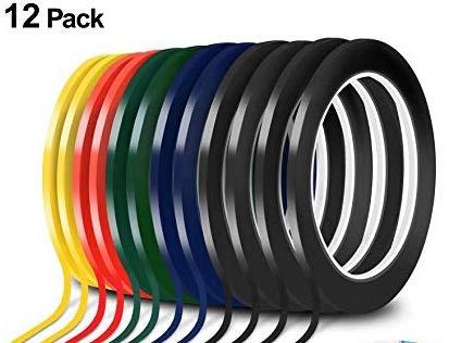 1/8 Tape 3mm (12 Pack Glossy) Chart Tape/Whiteboard Gridding Tape/Artist Tape/Model Hobby Tape/Dry Eraser Board Tape