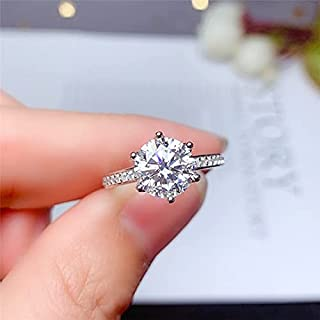Moissanite Ring D Color Excellent Cut Women Engagement Gift Lab Diamond 925 Solid Silver
