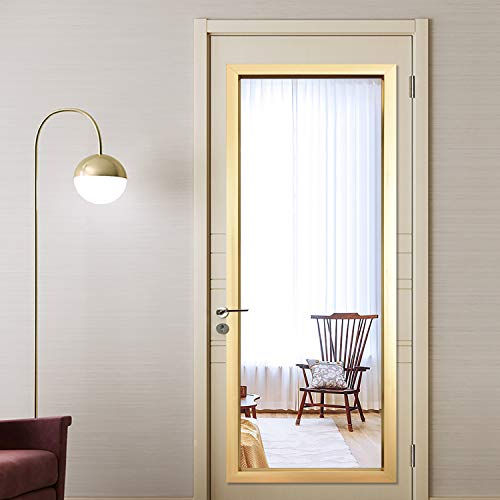 """PexFix 44"""" x 16"""" Full Length Wall Mirror, Contemporary on The Door Mirror Simple Sleek Frame Dressing Mirror Rectangle Wall Mirror Space-Saving Decoration for Home - Champagne"""
