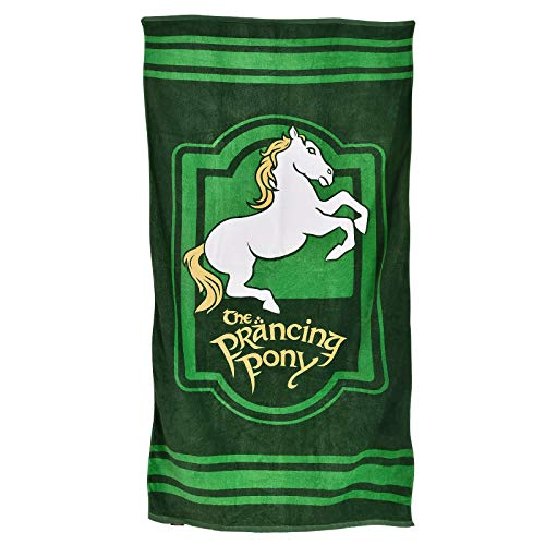 Elbenwald El señor de los Anillos Toalla de Playa To The Prancing Pony Logo 90x165cm algodón Verde