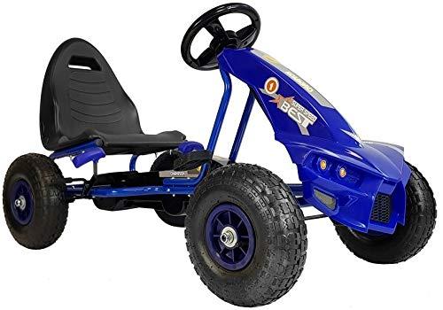 HM-Active Kinder Go Kart Racing Car Super Speed No. 1 Kettcar Luftreifen 4-8 Jahre mit Freilauf Blau