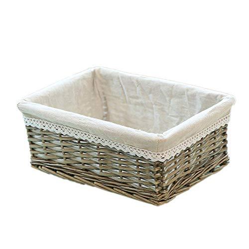 Honton Weidenkorb mit Auskleidung, Schreibtischkorb, Aufbewahrung für Kleinteile, für Regale, 1 Stück