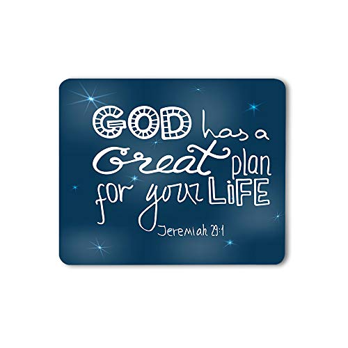 Moslion Christian Lettering Mouse Pad Bible Quote Verse God Has A Great Plan for Your Life Gaming Mouse Mat Non-Slip Rubber Base Thick Mousepad for Laptop Computer PC 9.5x7.9 Inch