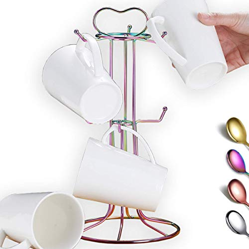 Berglander Rainbow Coffee Mug Holder Stainless Steel Colorful Coffee Cup Holder Stand Easy to Hang and Take Avoid Crowded Collision Design Beautiful Decoration Mug Rack Tree Easy to Clean