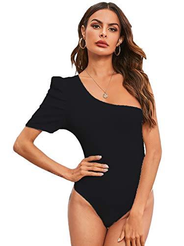 Verdusa Damen One Shoulder Puffärmel gerippter Skinny Leotard Bodysuit Top - Schwarz - Medium