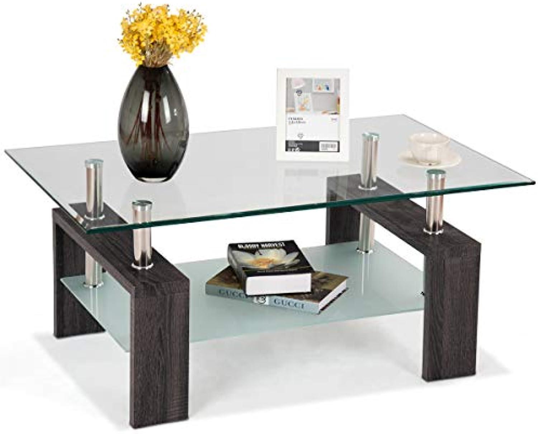 COSTWAY Couchtisch Wohnzimmertisch Sofatisch Beistelltisch Kaffeetisch Glastisch, mit Stauraum, 2 Etagen, Tischplatte aus Sicherheitsglas, für Wohnzimmer Balkon Flur, schwarz