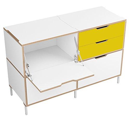 morfus Sylvi Credenza Madia con due cassetti cassetto singolo, un paio di Soft Close metà, e una porta, in legno, colore: giallo