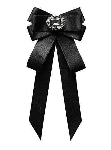 Cheerlife Fashion Schleifenbrosche Damen Brosche mit Strass Fliege Schleife mit Haken verstellbar für Herren Damen Mädchen Schwarz