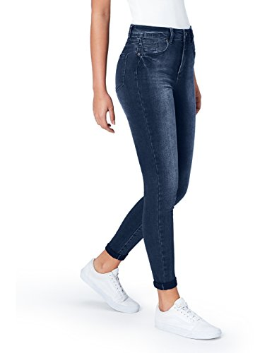 Marchio Amazon - find. Jeans Skinny Vita Regular Donna, Mid Indigo, 30W / 32L, Label: 30W / 32L