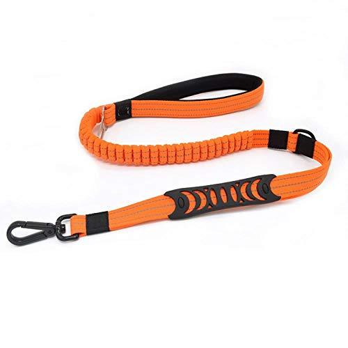 Yisatann Laisses de Dressage pour Chiens Orange Pet Supplies Chien Multi-Fonction Corde De Traction Élastique Rembourrage De Ceinture De Sécurité De Voiture Rétractable Reflectivenylon