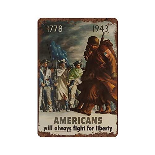 graman Americans Will Always Fight for Freedom sovjetiskt konsttryck vintage konst ryskt tema frihet vintage ryskt tryck blå och brun plakett metall för man grotta bar pub klubb 30 x 20 cm