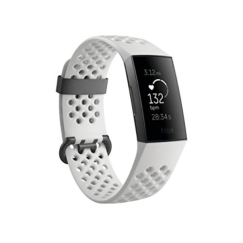 Fitbit Charge 3 SE Fitness Activity Tracker Graphite/White Silicone, One Size (S and L Bands Included)