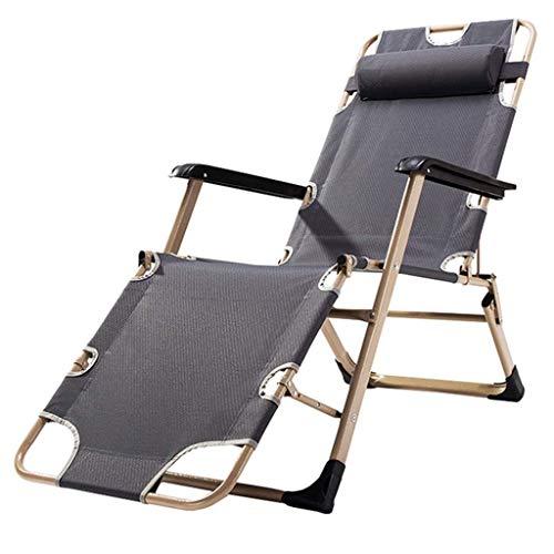 WYJW Vouwstoelen voor tuinstoelen om de tuinstoelen aan te passen Reaxing Chair Zero Gravity Chair Verstelbare campingstoelen met hoofdsteun Maximaal draagvermogen van 150 kg - Grijs