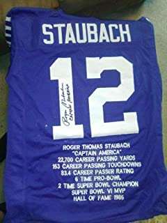 Roger Staubach Autographed Signed Dallas Cowboys Captain America Jersey JSA Stat Jersey