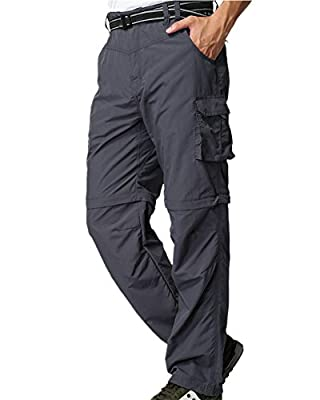 Mens Hiking Pants Convertible Quick Dry Lightweight Zip Off Outdoor Fishing Travel Safari Pants (225 Grey 36)