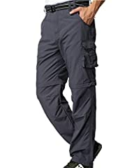 Hiking Pants Mens: Comfort fit side elastic waist, freedom of movement, water repellent, wear-resisting, breathe freely, dry fit, equipped with a belt. Convertible Pants Men: Zip-off pant legs make for an easy change from pants to shorts, suitable in...