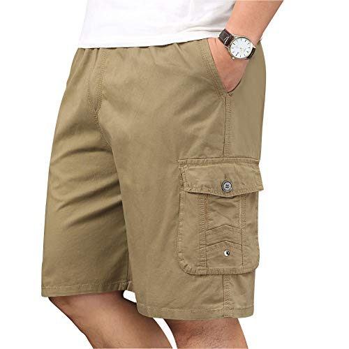 XinnanDe Mens Cotton Loose Fit Full Elastic Waist Twill Cargo Short with Drawstring Yellow 46