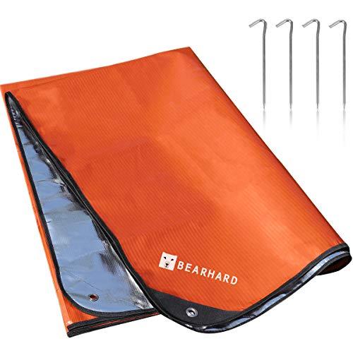 Bearhard 5.0 Heavy Duty Emergency Blanket, Emergency Tarp, Insulated Blanket, Thermal Waterproof Survival Space Blanket for Hiking, Camping, Orange