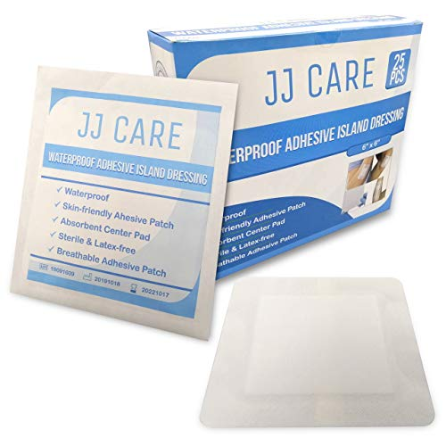 "JJ CARE [Pack of 25] Waterproof Adhesive Island Dressing 6"" x 6"", Sterile Wound Dressing,..."