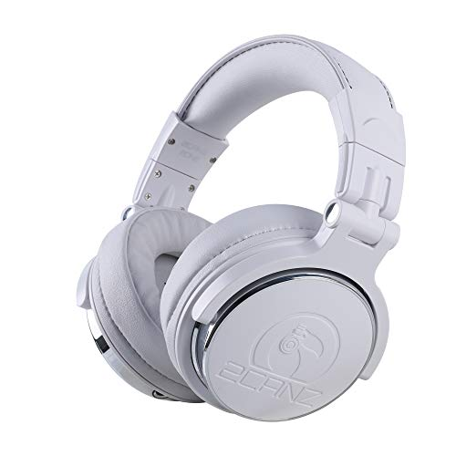 2CANZ Pro Matte White Over-Ear Professional Wired DJ Headphones - Enhanced 50mm Neodymium Drivers, Closed Back, Plush Comfrasoft Ear Cushions, 8-Way Adjustable Earpads, Foldable, and Joint Listening