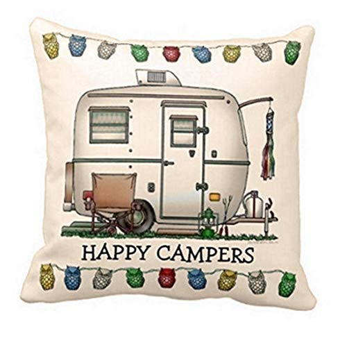Cotton Linen'Happy Camper'Print Pillow Case Sofa Waist Throw Cushion Cover for Home Decorative 18 X 18 Inch White Convenient and Practical