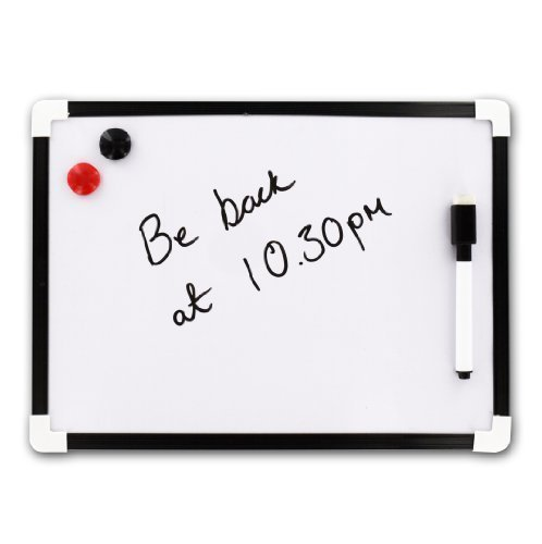 5x A4 droog doekje magnetisch whiteboard Mini Office Notice Memo wit bord pen & gum Shopmonk