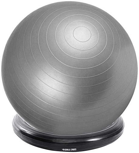 GORILLA SPORTS® Ballschale aufblasbar für Gymnastikball Ø 45 cm – Halterung aus Gummi für Sitzbälle 55-75 cm