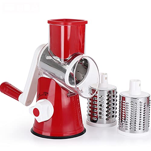 YUY Stainless Steel Multi-Functional Grater, With 3 Stainless Steel Revolving Blades, Slicer,Hand Cranked Kitchen Drum Cutter Tool. Kitchen Essential