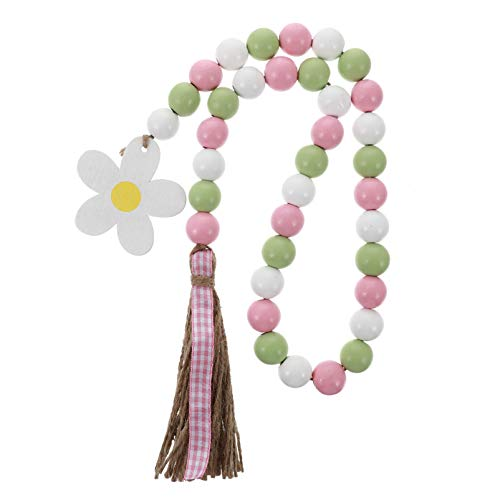 SOIMISS Wood Bead Garland with Tassels Easter Tassel Garland Farmhouse Rustic Beads with Jute Rope Plaid Tassel Natural Wood Beads Decor for Easter (Flowers)