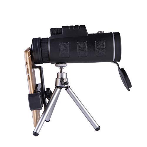 Telescopio de teléfono móvil, Alta Potencia, 40x60, BAK4, Mini telescopio de Mano para Adultos para teléfono Inteligente, Niebla Impermeable, con brújula de trípode, para Viajes de iPhone