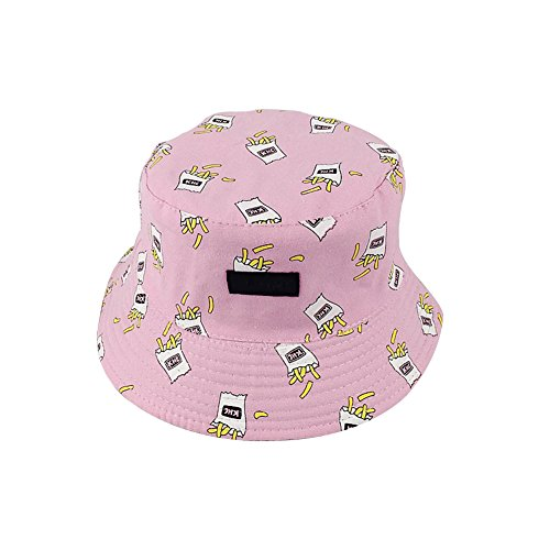 Leisial Ocio Sombrero de Pescador Algodón Forma de Papas Fritas Plátanos Uso de Doble Cara Sombrero de Sol Gorro Visor para Mujer