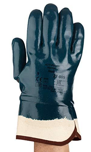 Ansell ActivArmr 27-805 Guanti da Lavoro Impieghi Gravosi, Resistenza al Taglio e all'Olio, Rivestimento Nitrile Senza Silicone, Protezione Industriale, Guanto Donna e Uomo, Blu, Taglia XL (12 Paia)
