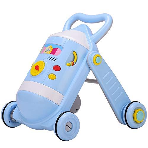 Toy Roll Push et Pull Baby Walker Cart 0-2 Ans Enfant Bébé Multifonction Avec Musique Réglable Walker Jouet Walker Walker Chariot Enfant en bas âge éducatif ( Couleur : Bleu , Taille : 49*51*45CM )