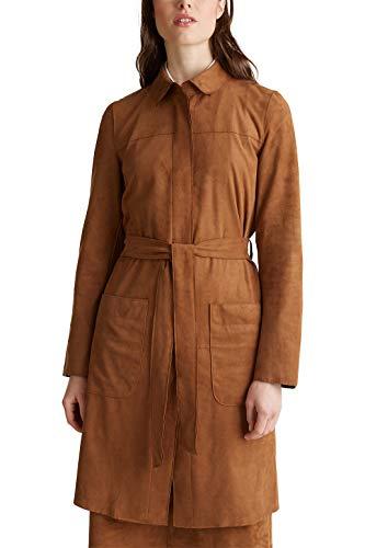 ESPRIT ongevoerde mantel in ruw leder-look