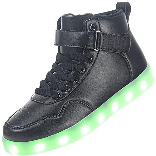 APTESOL Scarpe per Bambini con luci a LED per Ragazzi Ragazze Sneakers Alte Ricaricabili USB [Nero, EU27]