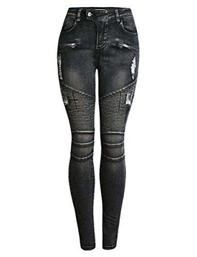 IDEALSANXUN Womens Skinny Ripped Jeans for Womens Biker Stretch Tapered Leg Jeans(Black, 10)