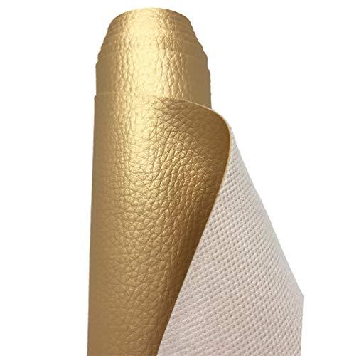 A-Express Tela de Grano de Cuero de Imitación Material Texturizado por Polipiel Vinilo Cojines Bolso - Oro Medio Metro 50cm x 140cm