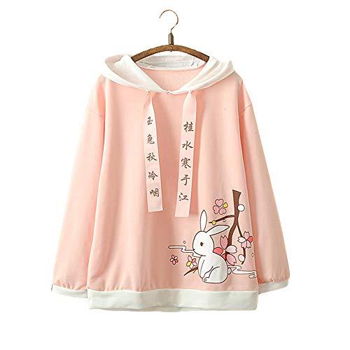 Vdual Kawaii japanisch Mädchen Mode Pastell Rosa Farbe Hase Hase Design Süß Bequem Kapuzenpullover Sweatshirt Zur Seite Fahren