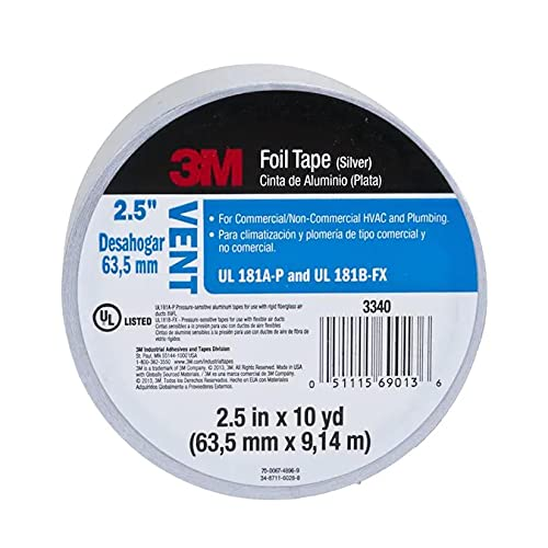 3M 3340 Foil Tape [UL 181 A & B listed Linered]: 2-1 2 in. x 30 ft. (Silver)
