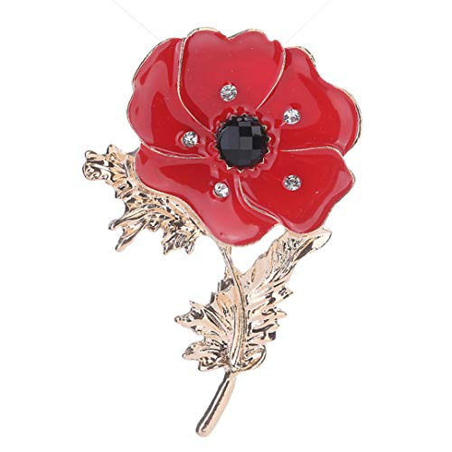 Underleaf Vintag Strass Mohn Pin Abzeichen Emaille Kristall Mohn Broschen Rote Blume Blatt Abzeichen Geschenk