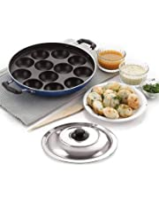 BMS Lifestyle Non-Stick 12 Cavity Appam Patra Side Handle with lid