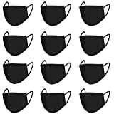 Running Pet 12 Pcs Unisex Mouth Mask Black Anti Dust Mask Anti Dust Pollution Face Mouth Mask, Washable Reusable Cloth Mouth Masks for Smoke Cycling Camping Travel