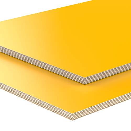 18mm Multiplex Zuschnitt gelb melaminbeschichtet Länge bis 200cm Multiplexplatten Zuschnitte Auswahl: 20x90 cm