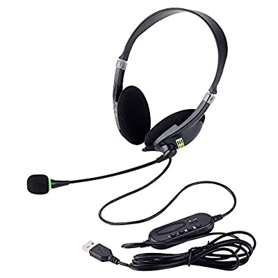 USB Headsets with Microphone and in-line Controls, Noise Cancelling Corded Headphone for PC, Wideband PC Headphone for Business UC Skype Lync Softphone Call Center Office Computer Clearer Voice from FLYEER
