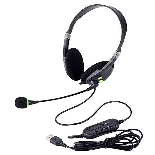 USB Headsets mit Mikrofon und Inline-Steuerung, Geräuschunterdrückung, schnurgebundene Kopfhörer für PC,Business, UC, Skype, Lync, Softphone, Call-Center, Büro, Computer, klarere Stimme
