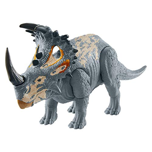 Jurassic World Camp Cretaceous Sound Strike Medium-Size Sinoceratops Dinosaur Action Figure with Strike & Chomping Action, Realistic Sounds, Movable Joints, Authentic Color, Ages 4 Years Old & Up