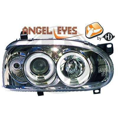 2212180, 1 paar Angel Eyes koplampen, chroom voor Golf 3 van 1991 tot 1997