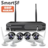 【2020 Update】SmartSF Wireless Kit Videosorveglianza 1080P 4CH HD NVR, 4x2.0MP 1080P Telecamere, 65ft Visione Notturna, P2P, Motion Detection, Allarme E-mail, NO HDD(Supporta sia cablato che wireless)