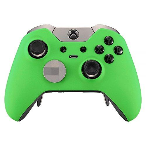 eXtremeRate Carcasa con 2 Anillos de Acento para Mando Xbox One Elite Protectora Tacto Suave Placa Frontal Kit de reemplazo Cubierta Shell Funda para Controlador de Xbox One Elite(Modelo 1698) Verde