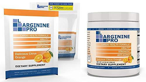 L-arginine Pro, L-arginine Supplement - 5,500mg of L-arginine Plus 1,100mg L-Citrulline for Cardio Health, Blood Pressure, Cholesterol, Energy - Jar + Packets Set (Citrus Orange, Jar+30Packets)